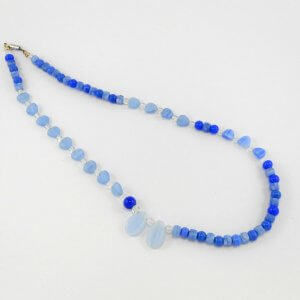 Czech pressed glass, Asymmetrical necklace, Czech fire-polished glass, blue, clear, pale blue, light blue, faceted, pressed, glass.