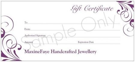This beautiful Gift Certificate is printed on card and presented in a matching printed envelope ready for gifting. You can arrange for it to be sent to yourself or directly to the lucky recipient with a message from you. Ideal for a Gift idea, Birthday Gift, Christmas Gift, Anniversary Gift or any other Gift giving idea. Keep some on hand for that last minute gift.