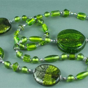 Feature Glass, lamp-worked glass, foil-lined glass, Czech fire-polished glass, nickel, green, handmade glass. //www.maxinefaye.com.au/