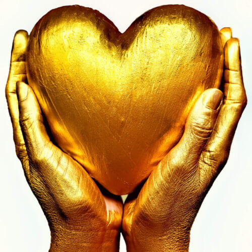 gold heart two gold hands