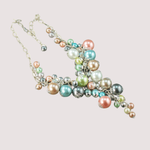 pastel glass pearl waterfall necklace