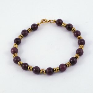 Triple sets of thin brass nuggets separate the Purple Aventurine stones in this gorgeous brass & Purple Aventurine unisex style bracelet.