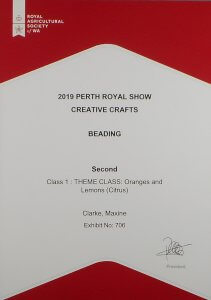 Perth Royal Show 2nd place award