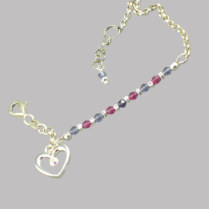 Sterling silver and crystal child's anklet by MaxineFaye