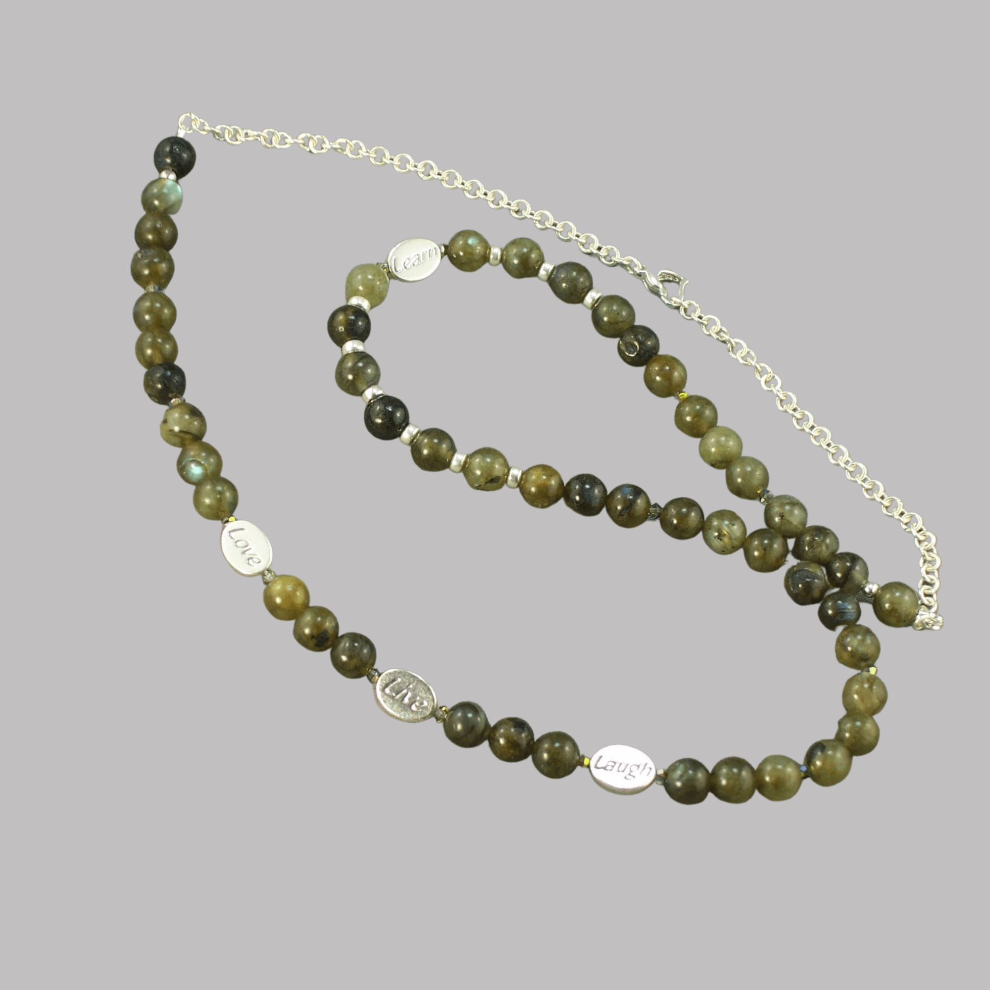 labradorite gemstone and sterling silver necklace by MaxineFaye