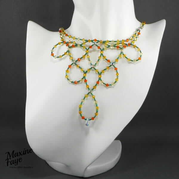 Citrus Garden Swarovski Crystal and Japanese Seed-bead Necklace This award-winning design features over 130 individual 4mm Swarovski crystals