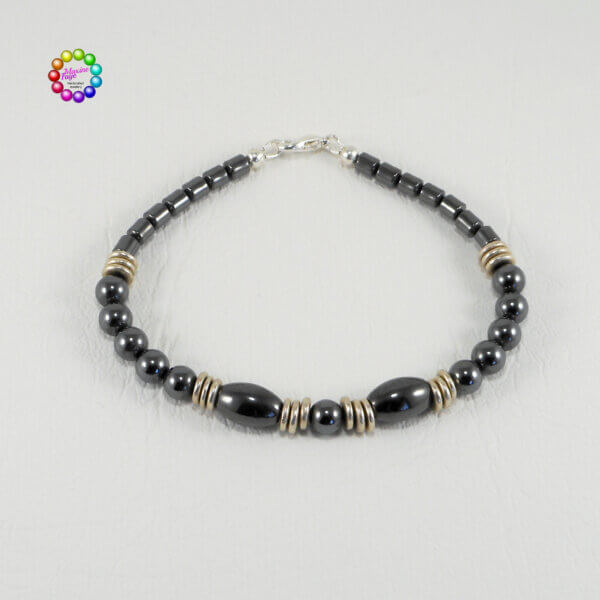 This metallic-looking man-made stone is a high-quality material, which is denser than the commercial grades of hematite. Deep dark metallic grey/black