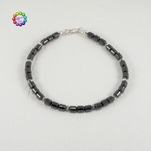 These little silver-plated beads look like tiny nuts and provide a fabulous contrast to the smoothness of the main hematite beads