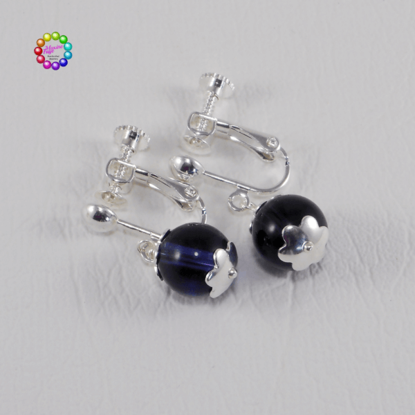 Screw-Back Earwires and Glass EarringsThis screw-back style of earring is suitable for people without pierced ears.