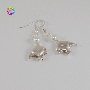 Thai Silver Angelfish & Glass Pearl Earrings Hills Tribe silver-plated Angelfish charms dangle from glass pearls