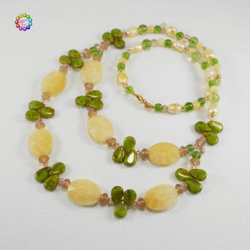 Harmony Calcite, Crystal, Freshwater Pearls & Glass Necklace Gorgeous creamy yellow coloured Calcite faceted ovals, rounds and Pearls