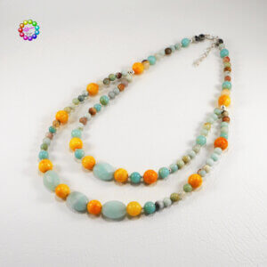 The yellow-orange of the 10mm Aragonite stones contrast well with the opaque blue-green of the faceted Amazonite beads.