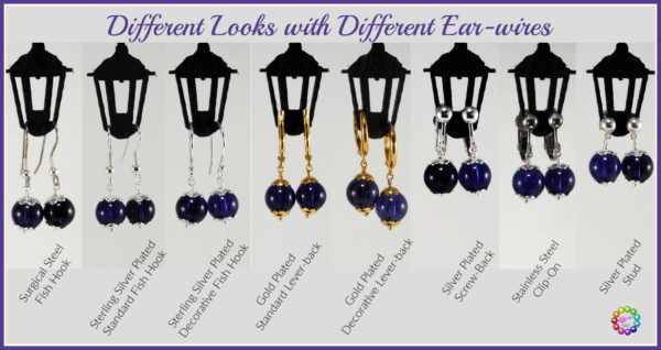 Showing the different looks and lengths with different ear wire choices
