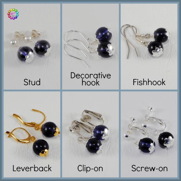 I use the standard gold or silver plate fish-hook style on my ready-made earrings but can change them to surgical steel at no extra cost.