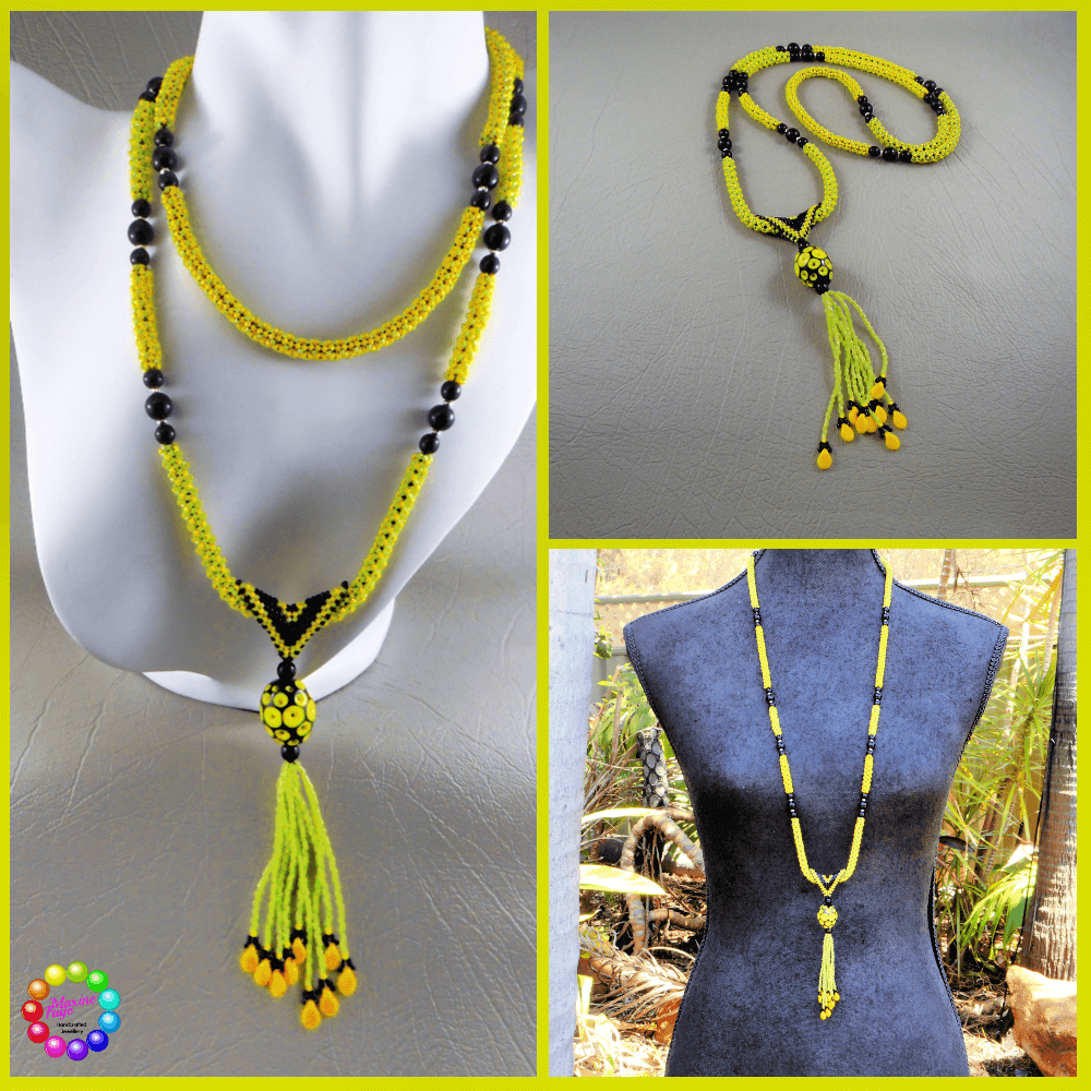 Award winning design: Chenille stitched long necklace