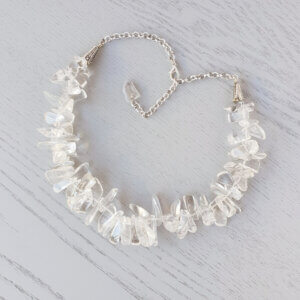 Crystal Clear Quartz Hawaiian Chip Necklace This beautiful natural Quartz Crystal gemstone necklace is made of large Hawaiian chips