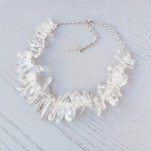 Clarity Quartz Crystal Hawaiian Chip Necklace This beautiful natural Quartz Crystal gemstone necklace is made of large Hawaiian chips
