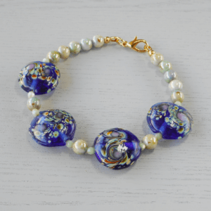 Ningaloo Lampwork Glass Bracelet The four 18mm feature beads in this bracelet are from a limited release of lampworked glass.