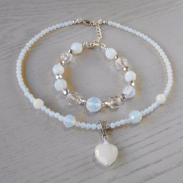 Sparkle and shine bracelet with Opalite & Crystal Heart Necklace