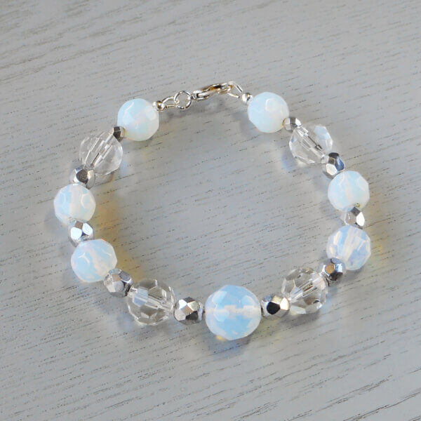 Sparkle and Shine Faceted Glass Bracelet Beautiful silver Czech fire-polished faceted glass beads are used between faceted clear crystal