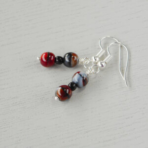 Karijini Earrings Czech 6mm pressed glass druk beads in red, black and grey are separated by little black glass beads