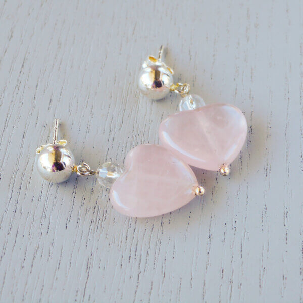 Rose quartz and sterling silver