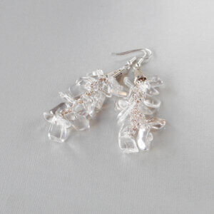 Crystal Clear Quartz Gemstone Earrings These beautiful natural Quartz Crystal gemstone earrings are made of large Hawaiian chips