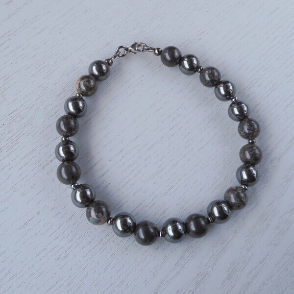 Sunset Jasper, Hemalyke & Gunmetal Grey Bracelet