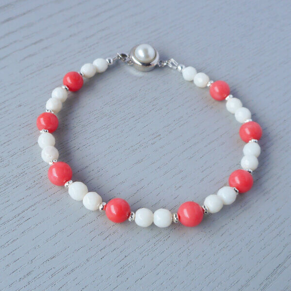 Pink and white coral bracelet