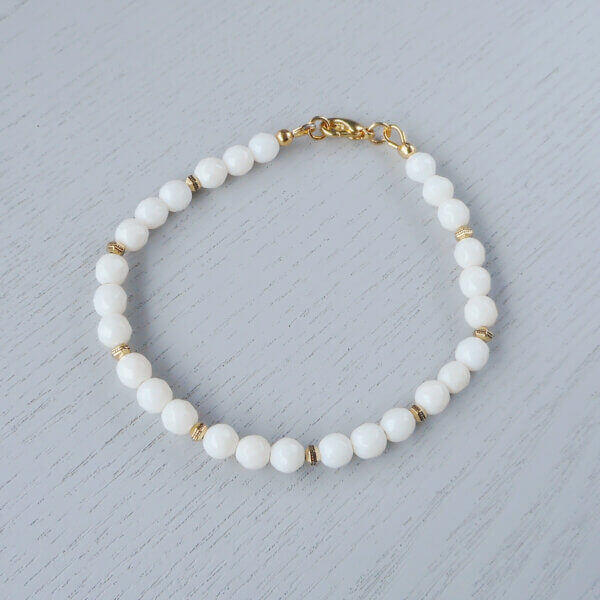 Faceted white coral bracelet