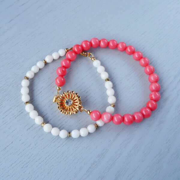 White and Pink coral bracelets