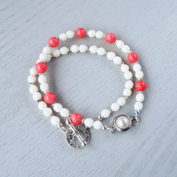 Pink and white coral bracelets