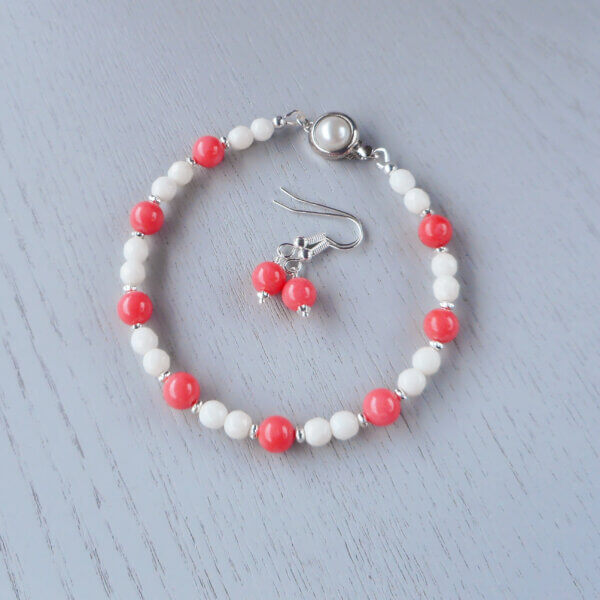 Pink and white coral bracelet and earrings