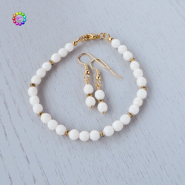 white faceted coral bracelet and earrings