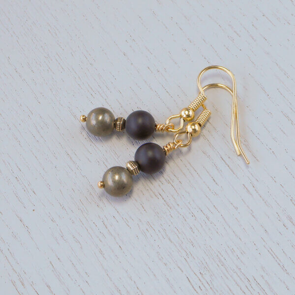 pyrite and matte onyx earrings