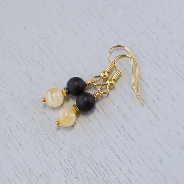 citrine and matte onyx earrings