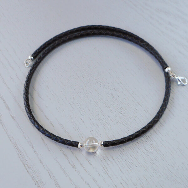 Quartz crystal and braided leather necklace