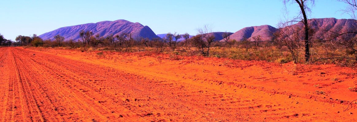 Red gravel road in central Australia