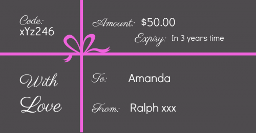 Gift certificate with online shopping code